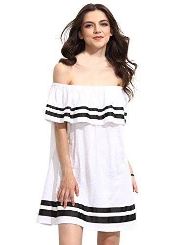 Shop https://goo.gl/DrVfjJ   ROMWE Women's Summer Off Shoulder Ruffles Cute Loose Dress   Check Store Price https://goo.gl/DrVfjJ  #Cute #Dress #Loose #ROMWE #Ruffles #Shoulder #Summer #Womens