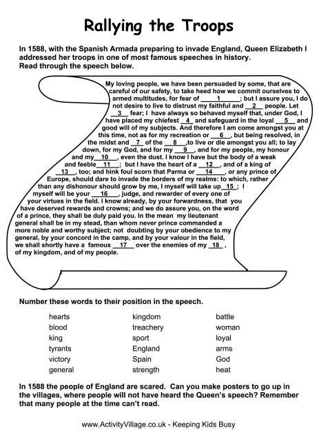 spanish armada speech worksheet time travel project  spanish armada speech worksheet