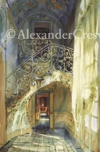 """Sicily - Catania, Palazzo Biscari the Musician's Staircase22"""" x 15""""2002SOLD"""