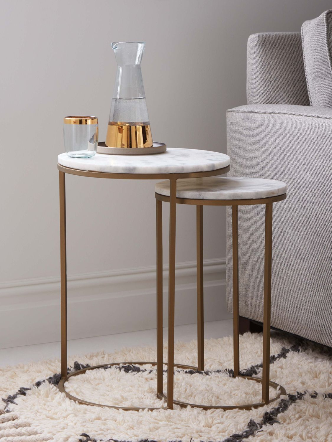 west elm Round Nesting Side Table, Marble / Antique Brass