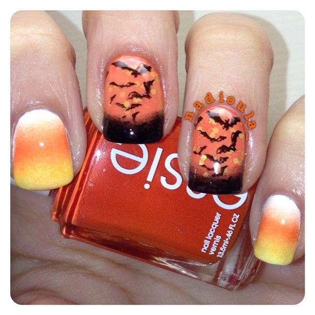 Gradient Using Funky Fingers Gesso, Essie Orange, It's