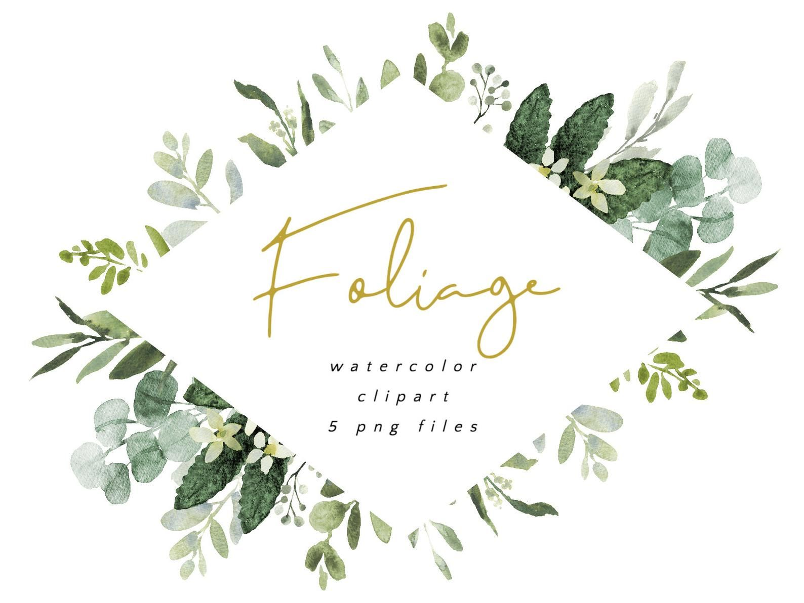 Foliage Watercolor Clipart With Modern Greenery Eucalyptus