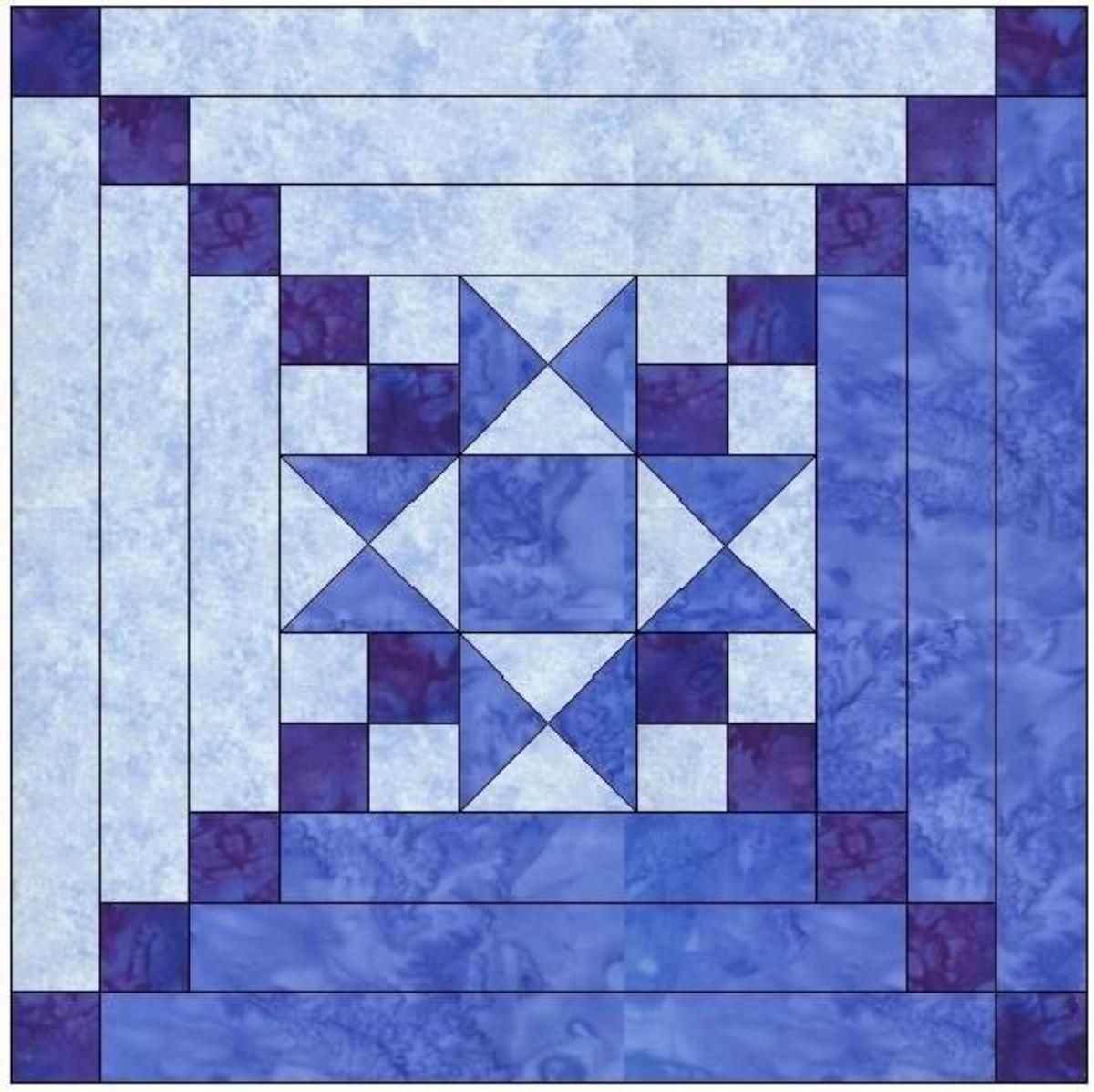 Star Center Log Cabin Quilt Block Log Cabin Quilt Pattern Log Cabin Quilt Blocks Log Cabin Quilts