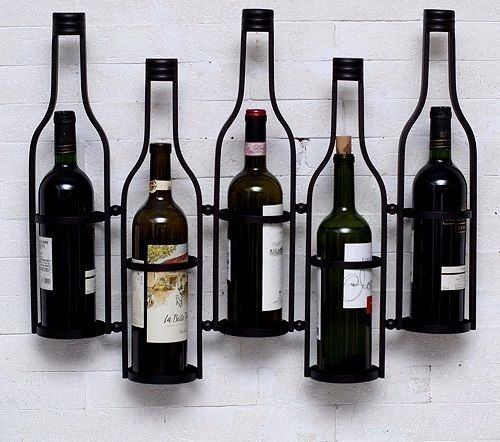 Floating Bottles Rack Wall Mounted Bar Wine Holder Liquor Hanging Metal  Holder