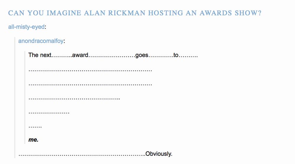 Alan Rickman hosting an awards show
