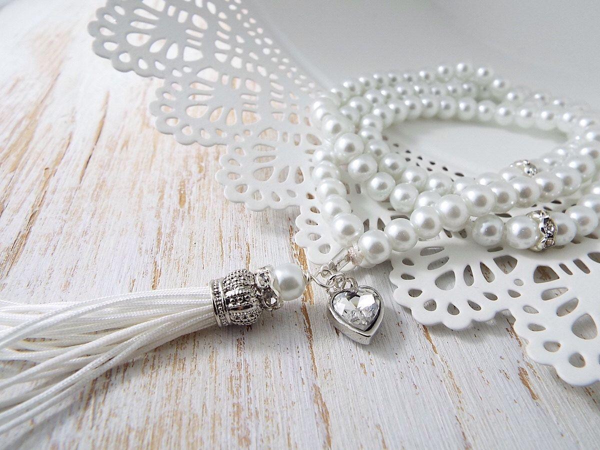 White Glass Bead Bracelet with Silver Colour Heart Rhinestone Charm Wedding Gift