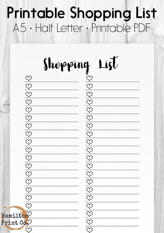 Printable Shopping List, Heart Checklist, A5 Printable Planner
