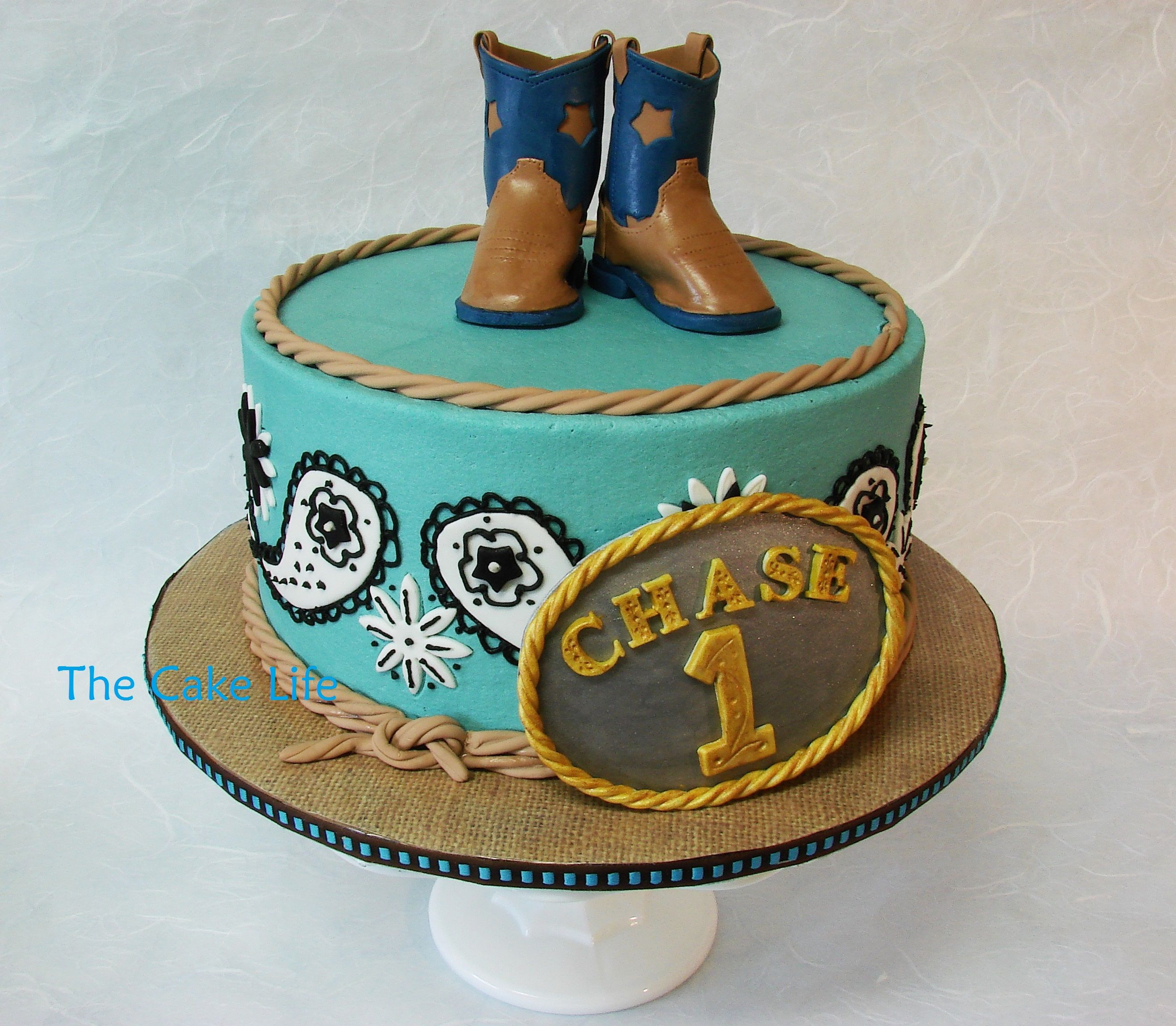 Pleasing Cowboy Themed 1St Birthday Cake With Fondant Belt Buckle And Funny Birthday Cards Online Alyptdamsfinfo