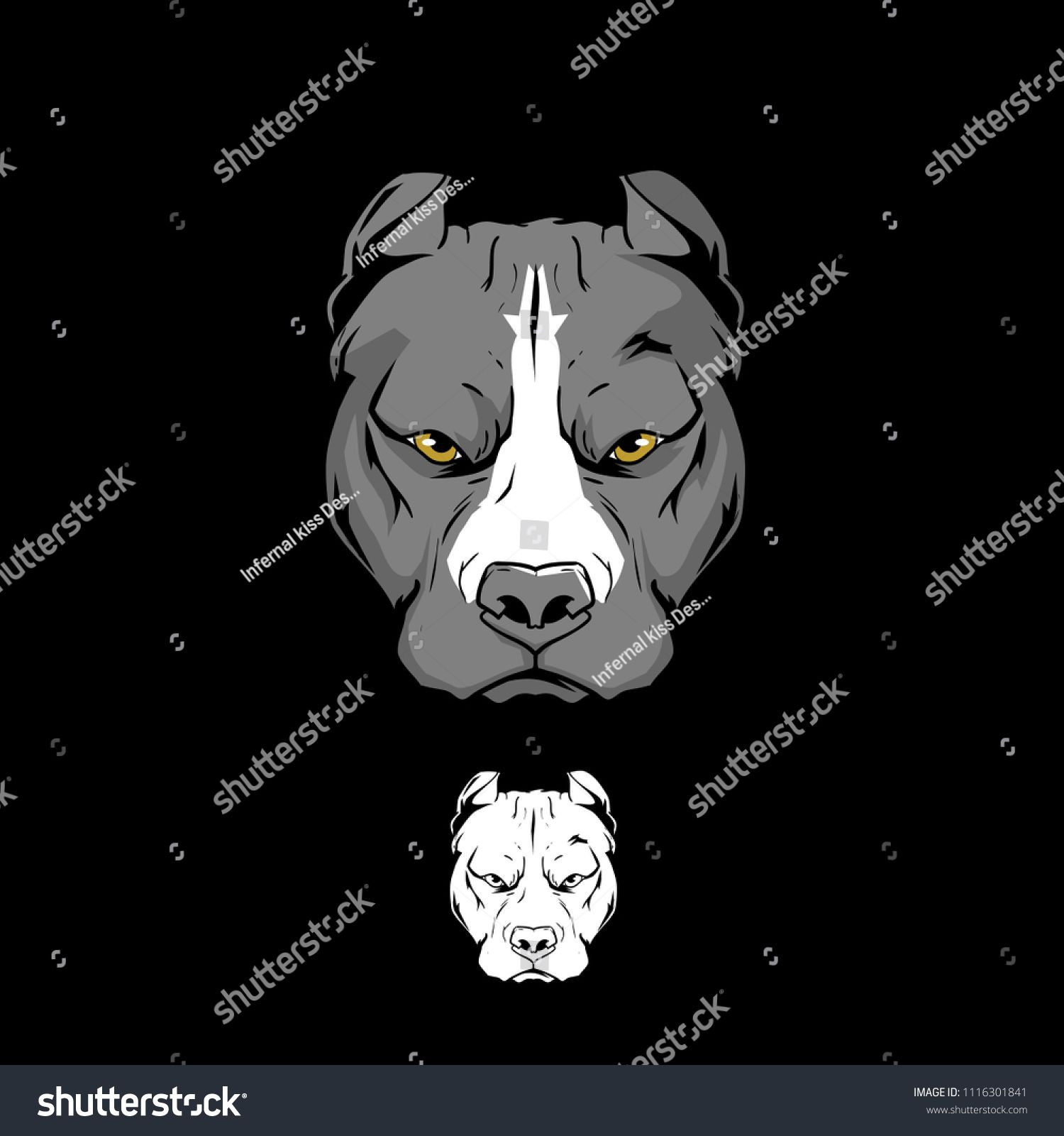 Pitbull Xl American Bully Head Vector Template American Xl Pitbull