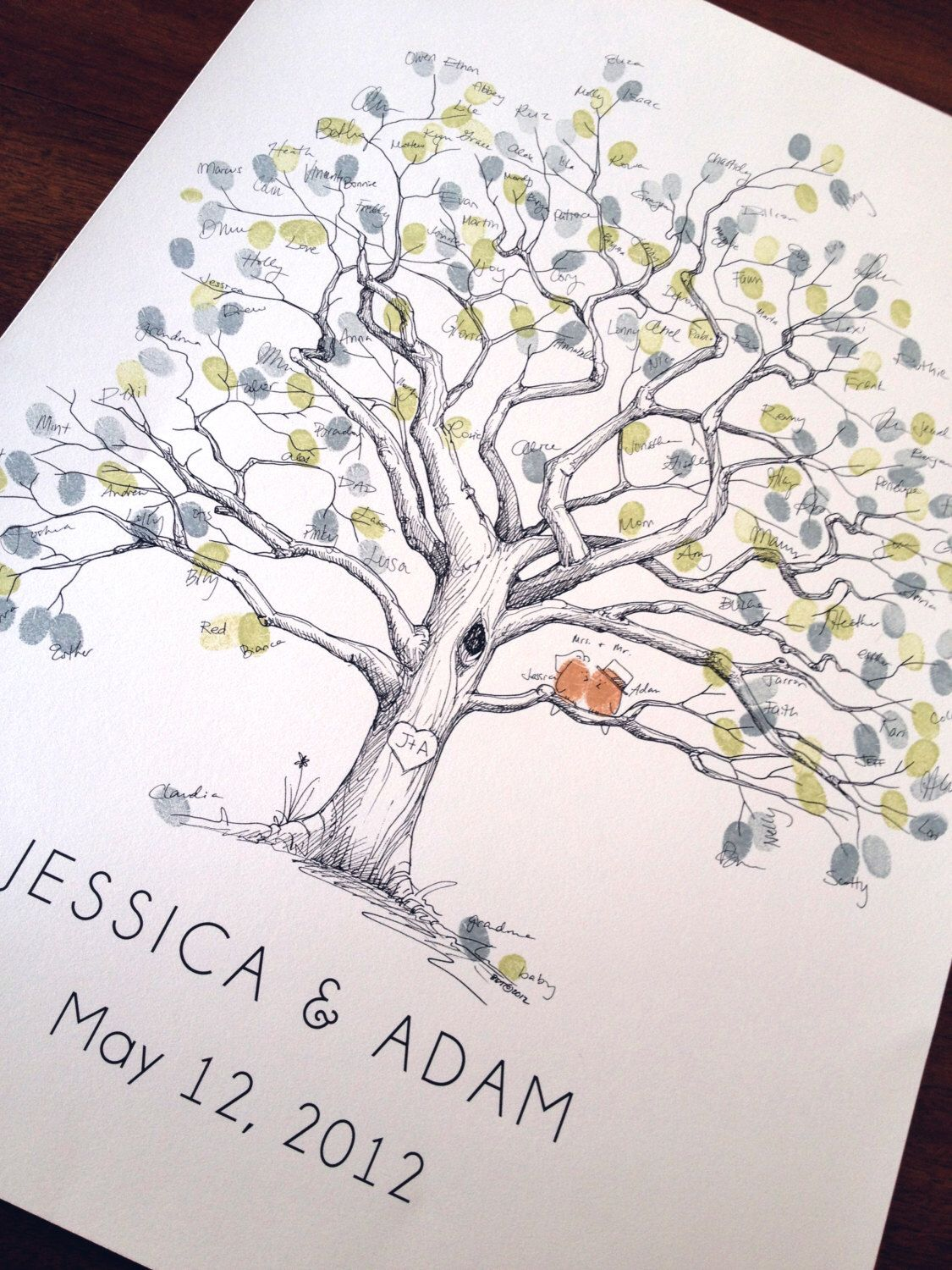 Uncategorized How To Draw A Perfect Tree wedding guest book alternative fingerprint tree large olive original hand drawn extra twisted oak design