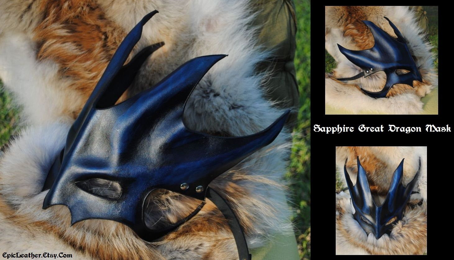 Sapphire Great Dragon Mask By Epic Leather Deviantart Com Dragon Mask Leather Mask Mask