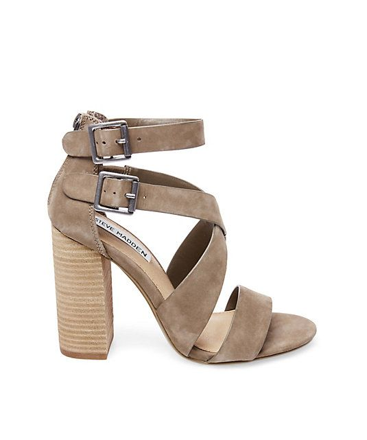 "6b84209127a Steve Madden ""Sundance"" brown-nubuck open-toe double-ankle-strap high -stacked-block-heeled sandal"