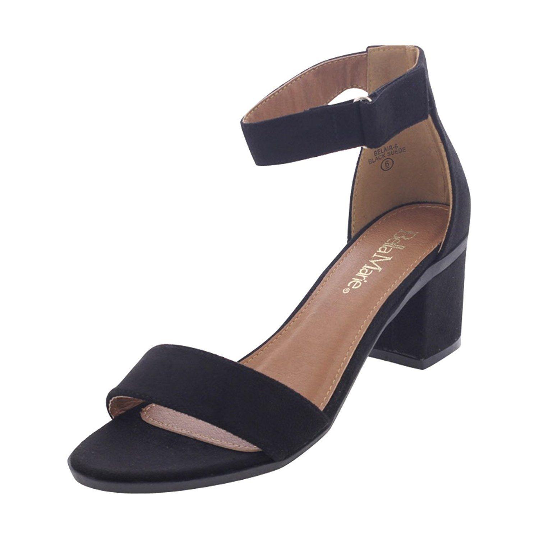 Bella Marie Women's Velcro Low Chunky Heel Black