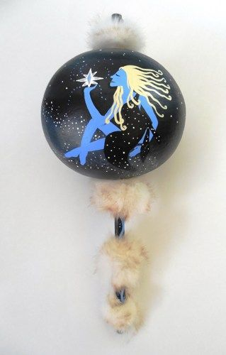 Moon Goddess Painted Gourd Ceremonial Rattle White Fur and Crystals  | ConsciousArtStudios - Music/Instruments on ArtFir