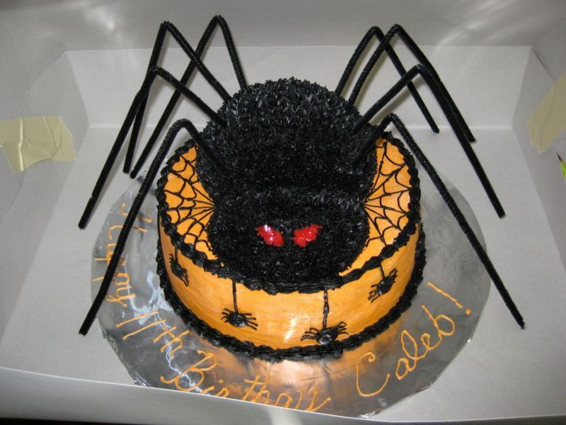 Easy Halloween Cake Ideas   Halloween Cake Ideas   Large black spider and  orange cake. Easy Halloween Cake Ideas   Halloween Cake Ideas   Large black