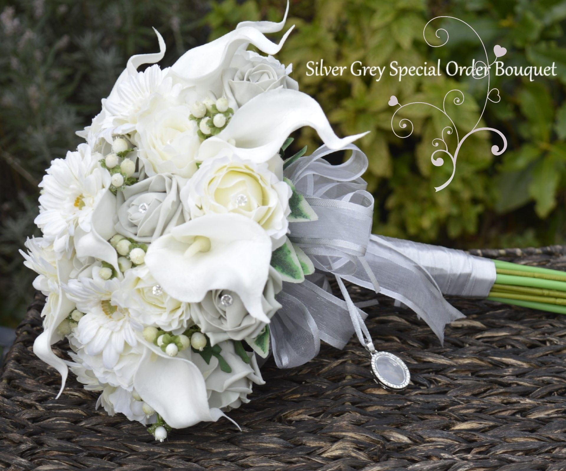 Silver grey and ivory bridal bouquet of artificial flowers a silver grey and ivory bridal bouquet of artificial flowers a special order for a winter 2016 dhlflorist Gallery