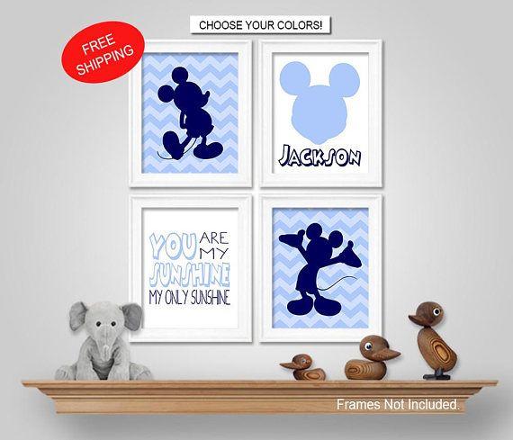 Mickey Mouse Nursery Bedroom Wall Art