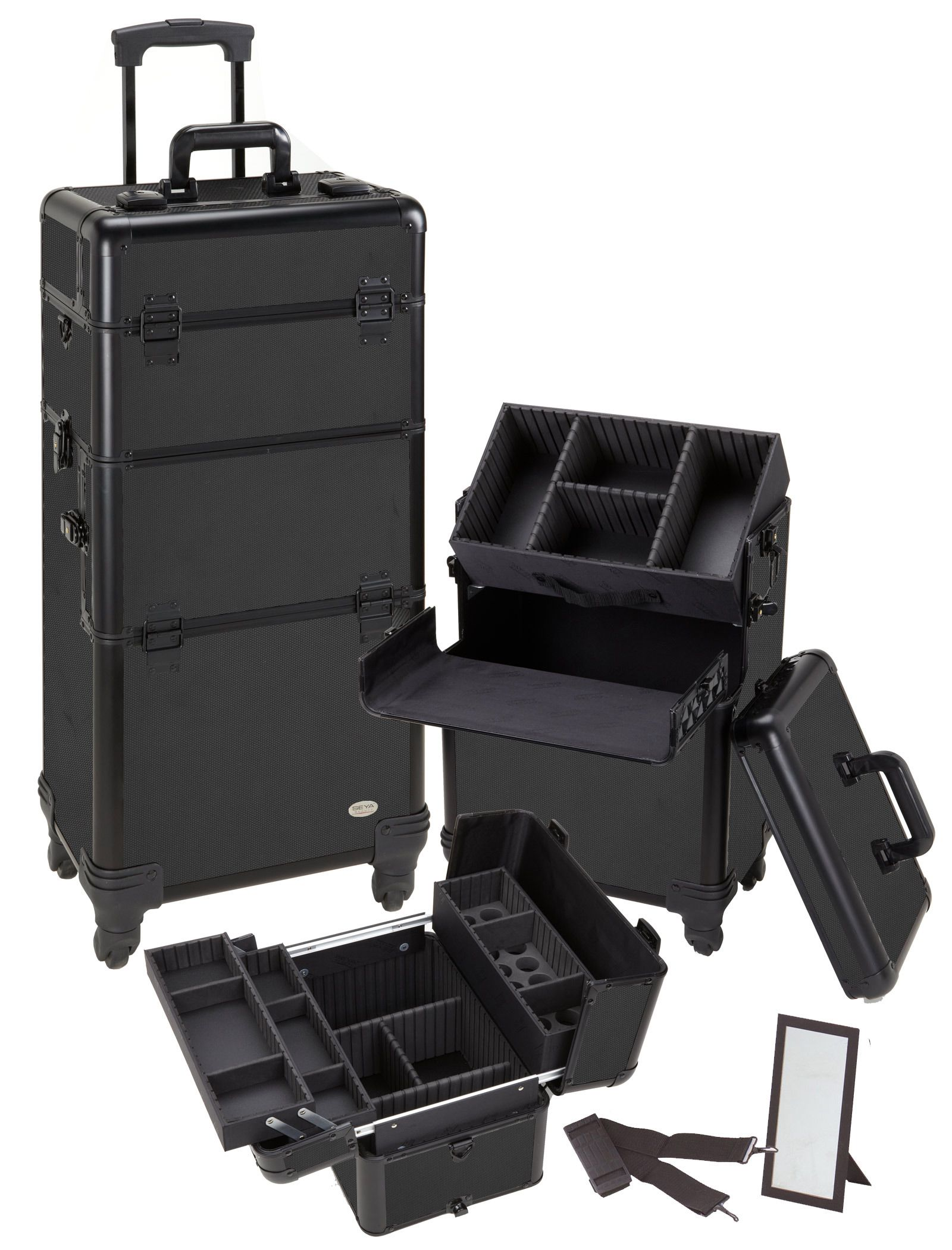 Pro Aluminum Makeup Case All Black 4 Wheeled Spinner, only