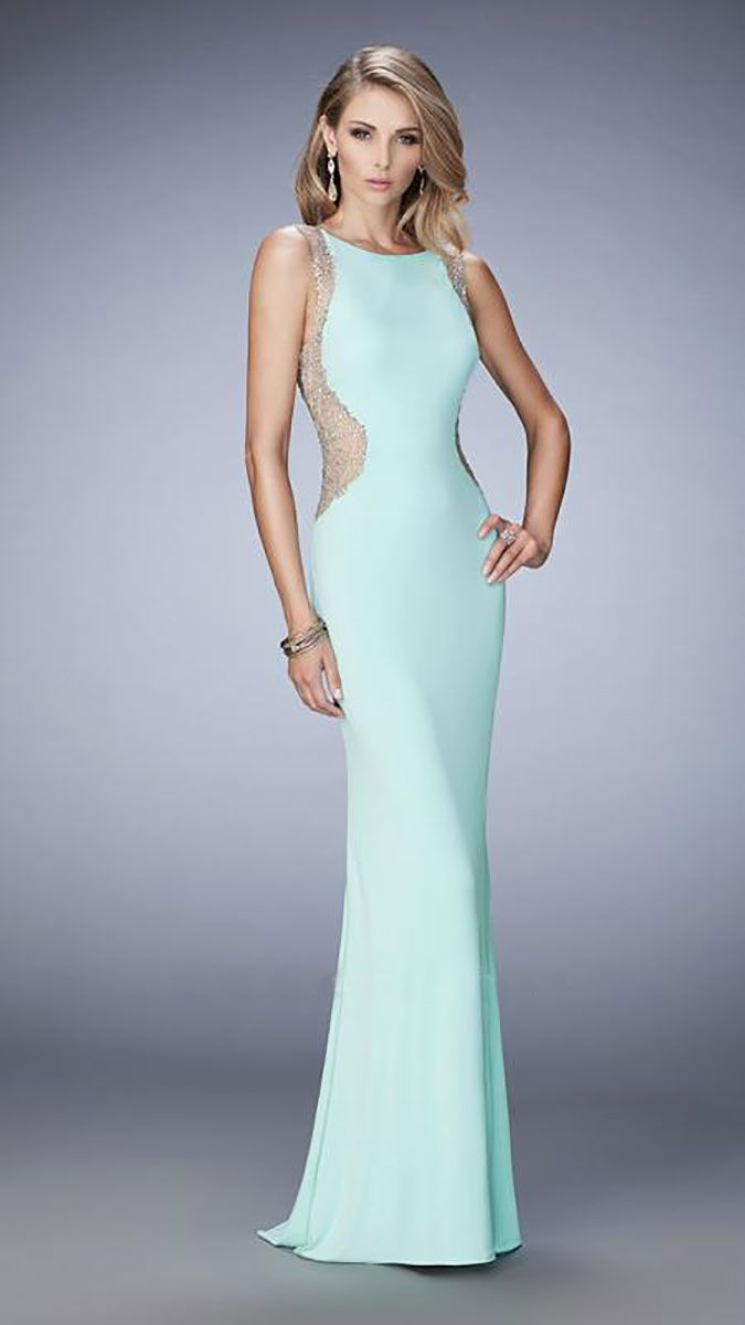 Full length simple gown with high neck and panelled sides. The body ...