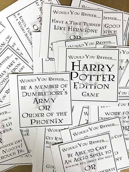 Harry Potter Would You Rather Game Harry Potter Printables Free Harry Potter Printables Harry Potter Games