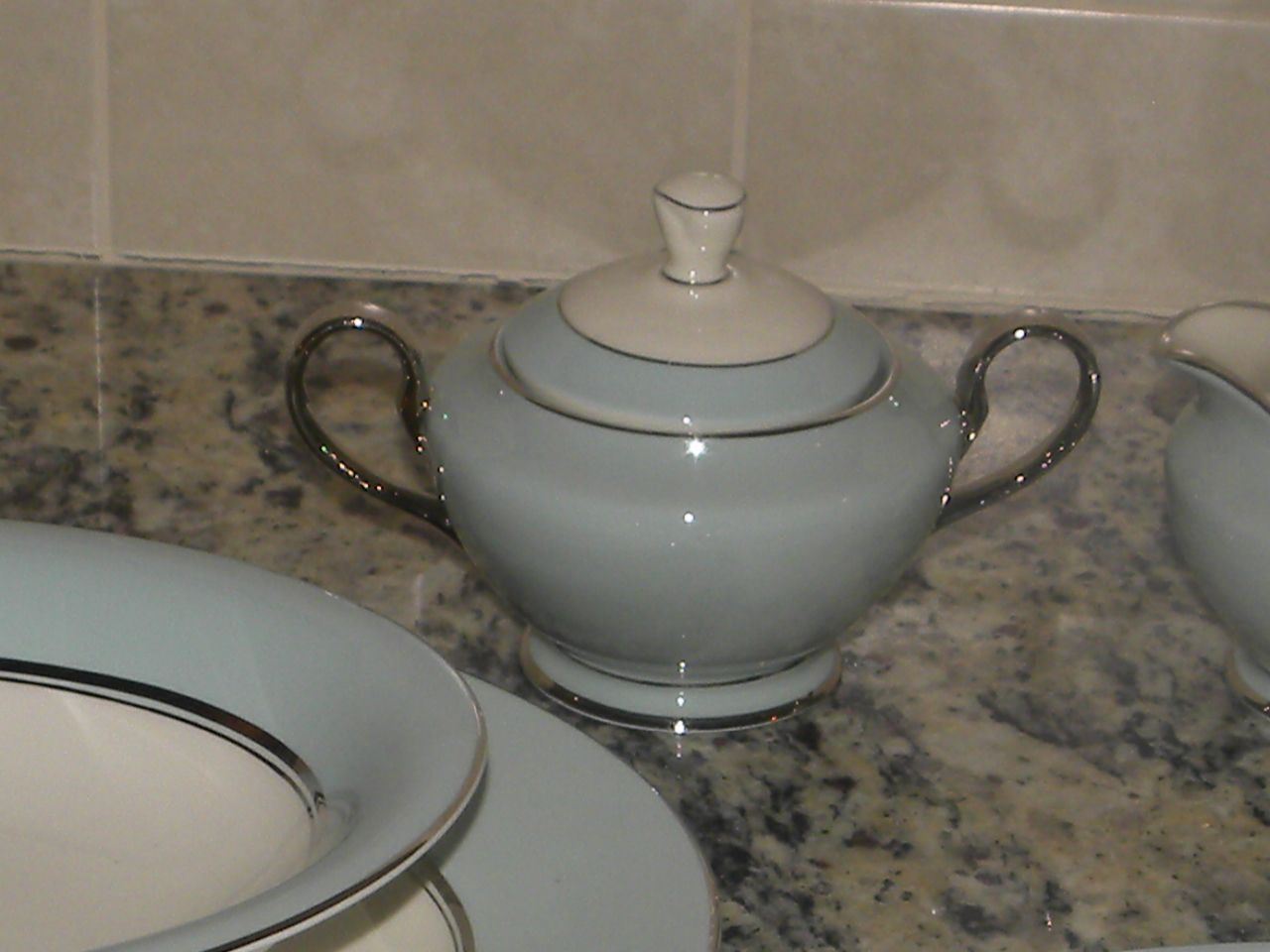 This is part of my fine china set that was given to me by my late Aunt Marilyn, the Tiffany Blue is gorgeous!!