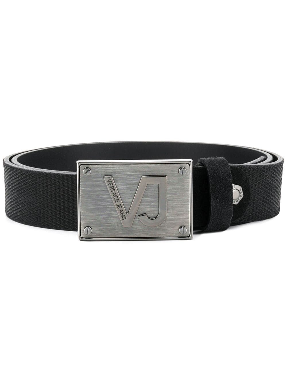 ae9e1842 Versace Jeans logo plate buckle belt - Black | Products in 2019 ...