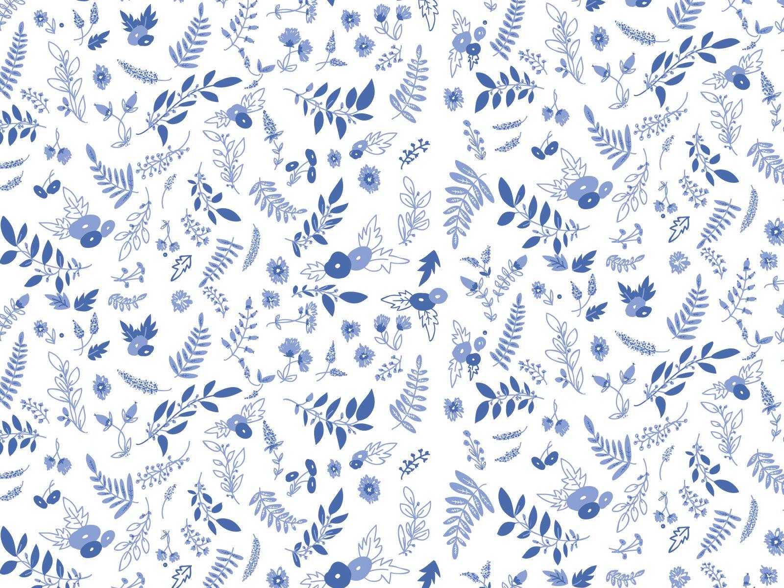 blue white floral botanical pattern desktop wallpaper