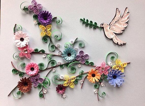 Quilling Paper Art Quilled Art Dove Flowers 8x8 Framed Quilling