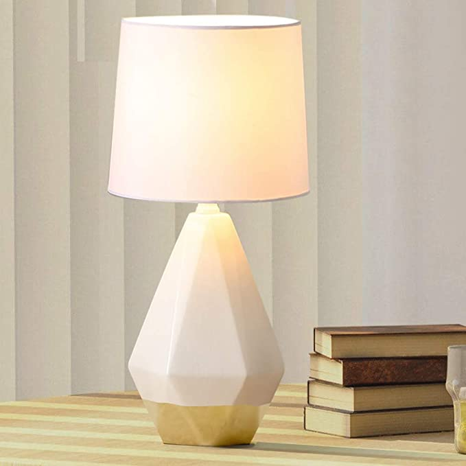 Sottae Modern Ceramic Small White Gold Irregular Geometric Livingroom Bedroom Bedside Table Lamp Desk Lamp With W Ceramic Table Lamps Fabric Shades Table Lamp