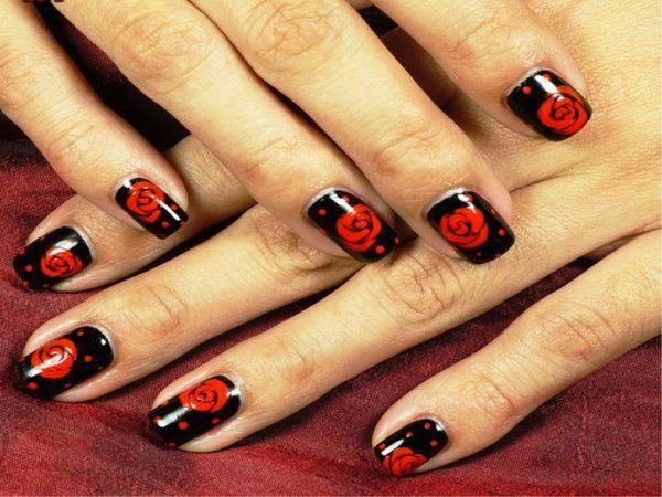 14 Beautiful Rose Nail Art Designs - Pretty Designs - 14 Beautiful Rose Nail Art Designs Rose Nail Art, Black Nails