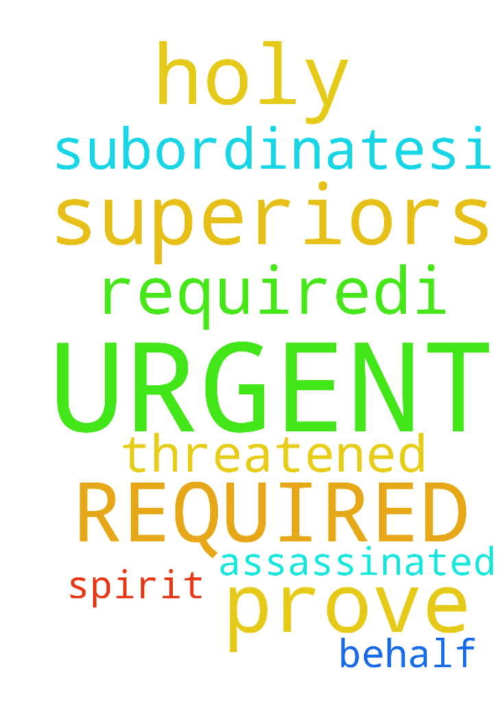 URGENT PRAYER REQUIRED:I HAVE BEEN - URGENT PRAYER REQUIREDI HAVE BEEN THREATENED TO BE ASSASSINATED BY MY SUPERIORS THROUGH MY SUBORDINATES...I NEED PRAYER FOR THE HOLY SPIRIT TO PROVE HIMSELF ON MY BEHALF BY THE LORD JESUS CHRIST. Posted at: https://prayerrequest.com/t/sQr #pray #prayer #request #prayerrequest