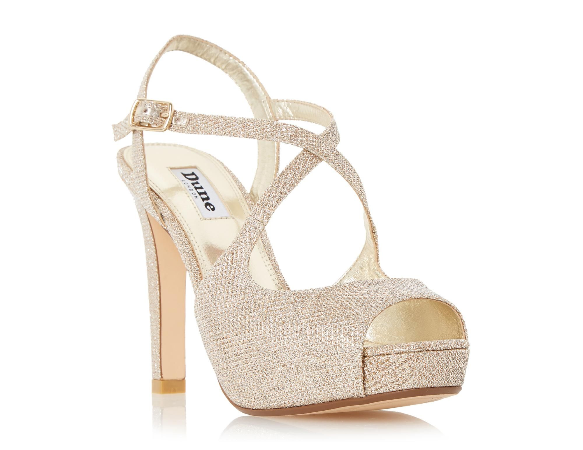Dune Ladies MERRY Peep Toe Cross Strap High Heel Sandal in Gold ...