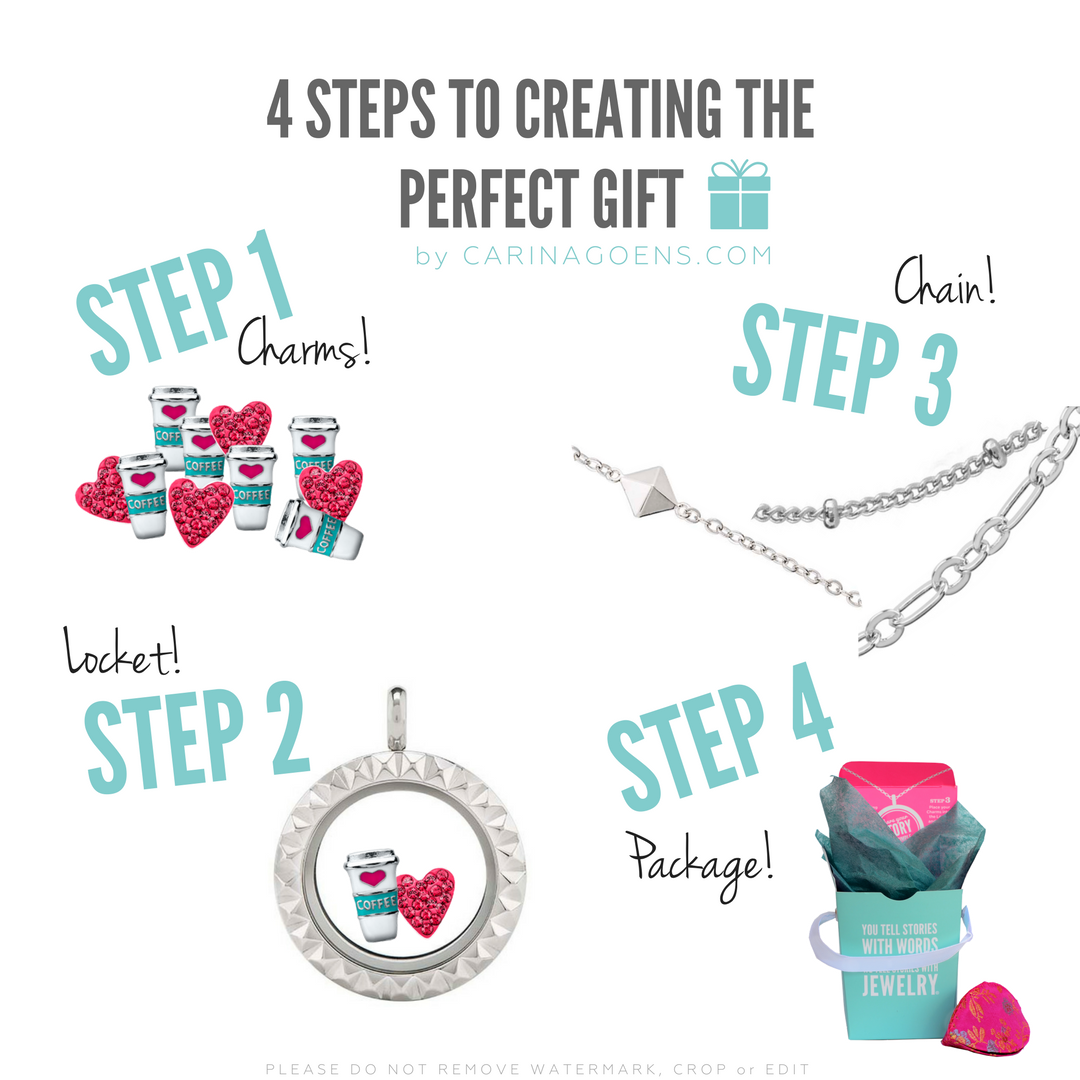 It's as easy as 1 -2 -3 - 4 ! Building the perfect gift is an art. Origami Owl makes it so easy. If you need help, give me a holler! I would be more than happy to walk you through it and help you choose the right pieces to make a masterpiece!