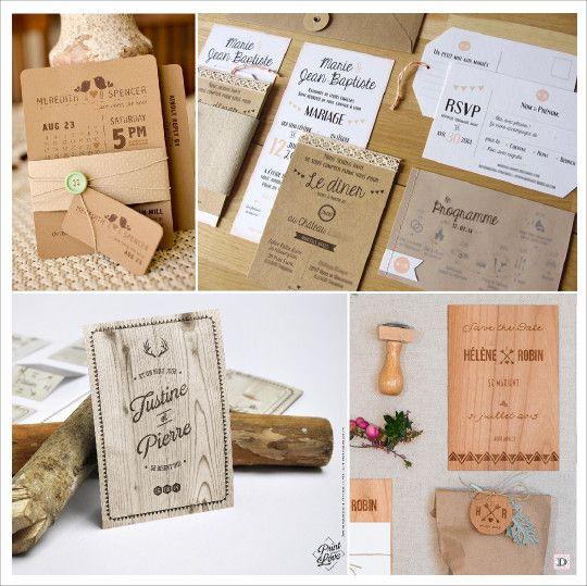 Top faire part mariage rustique kraft bouton couture bois | Getting  LO46