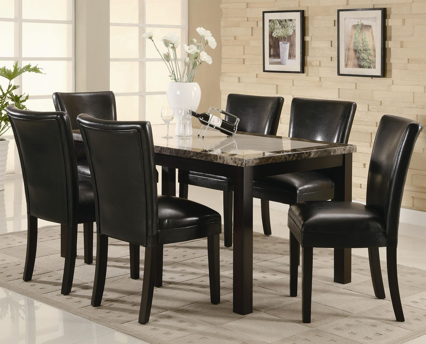The Carter Rectangular Leg Dining Table With Faux Marble Top Has Not Yet Been Reviewed