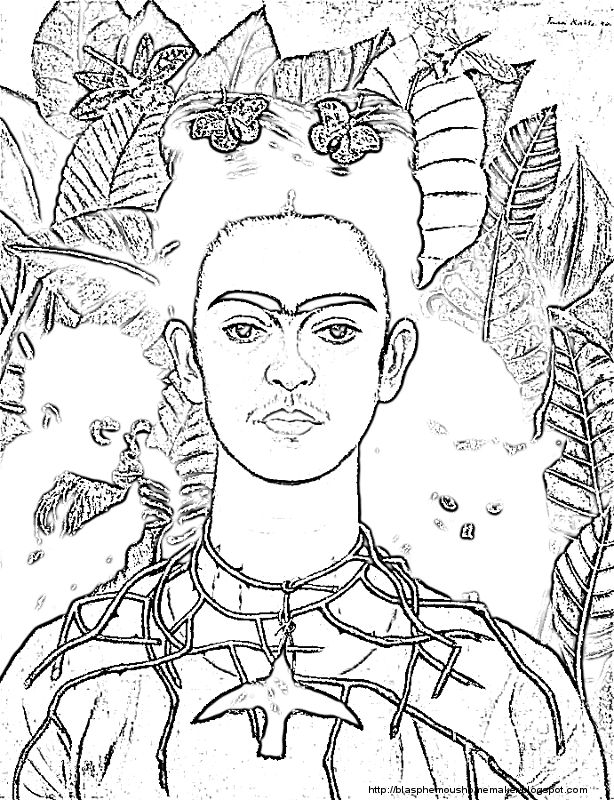 Frida Kahlo Self Portrait With Thorn Necklace And Hummingbird Jpg 614 800 Famous Art Coloring Coloring Pages Frida Kahlo Art