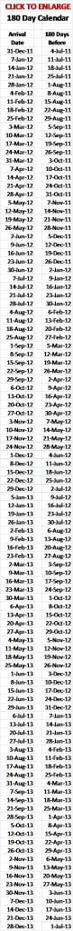 180 Day calendar for Disney planning