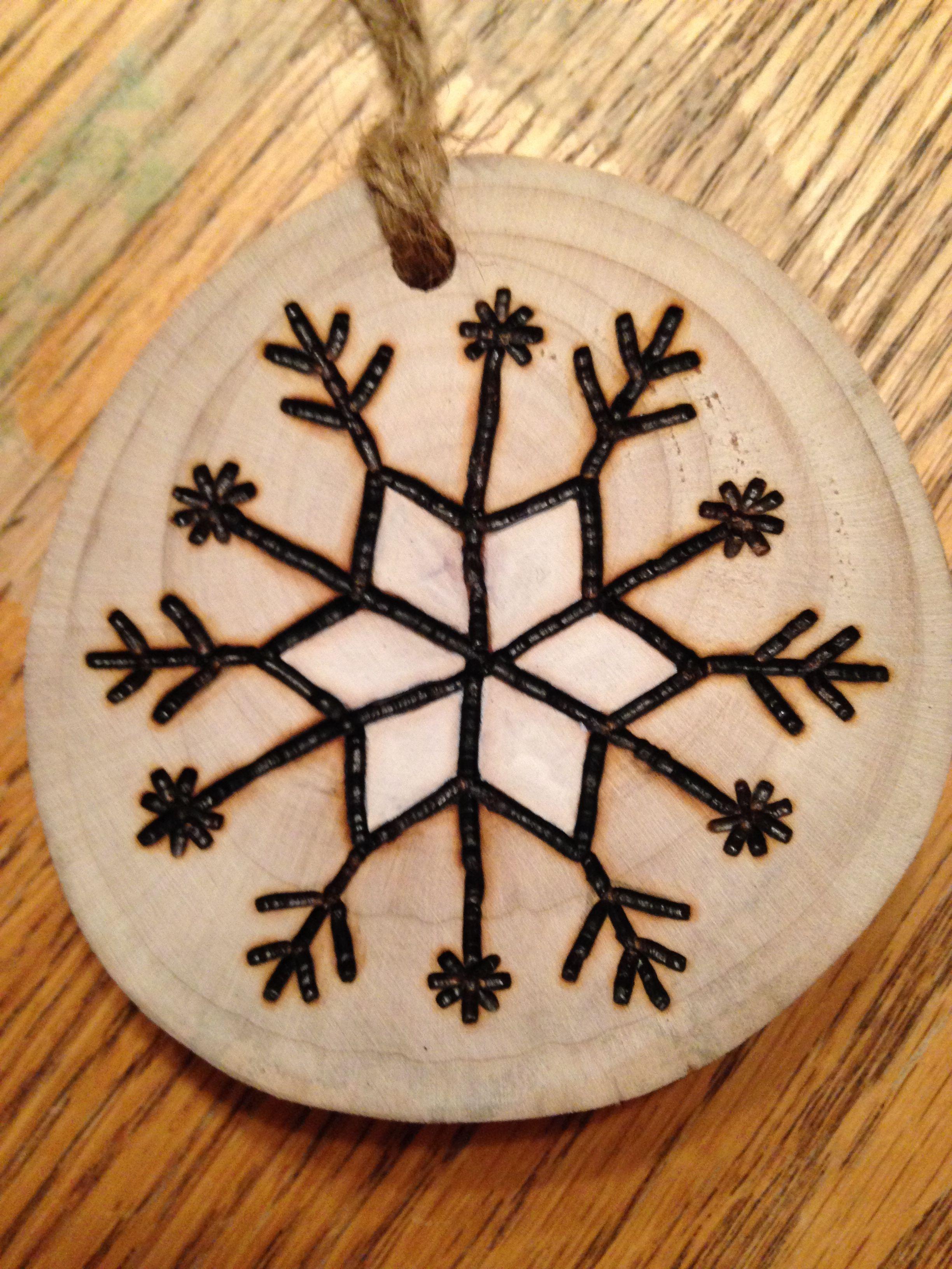 Rustic Snowflake wood burned Christmas ornament natural wood