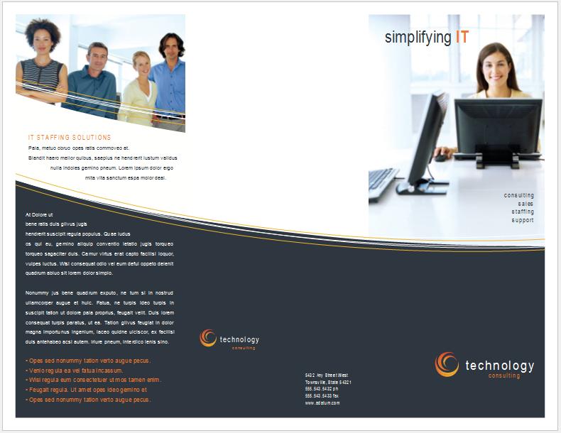 Free Tri fold Technology Brochure Template Business