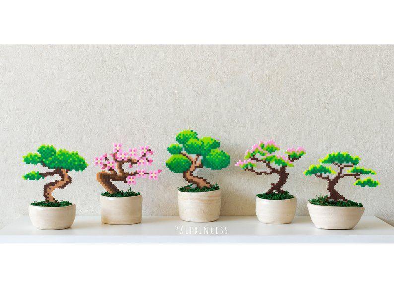 Sakura bonsai tree Pixel Plant in a pot Artificial cherry blossom Potted plant perler hama beads Wedding centerpiece pixel art  faux plant #bonsaiplants