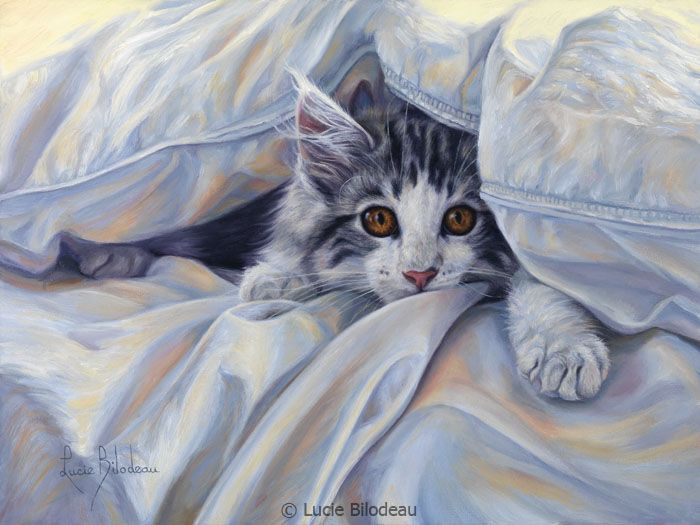 """""""Under the Comforter"""", oil on canvas, 9"""" x 12"""", by Lucie Bilodeau."""