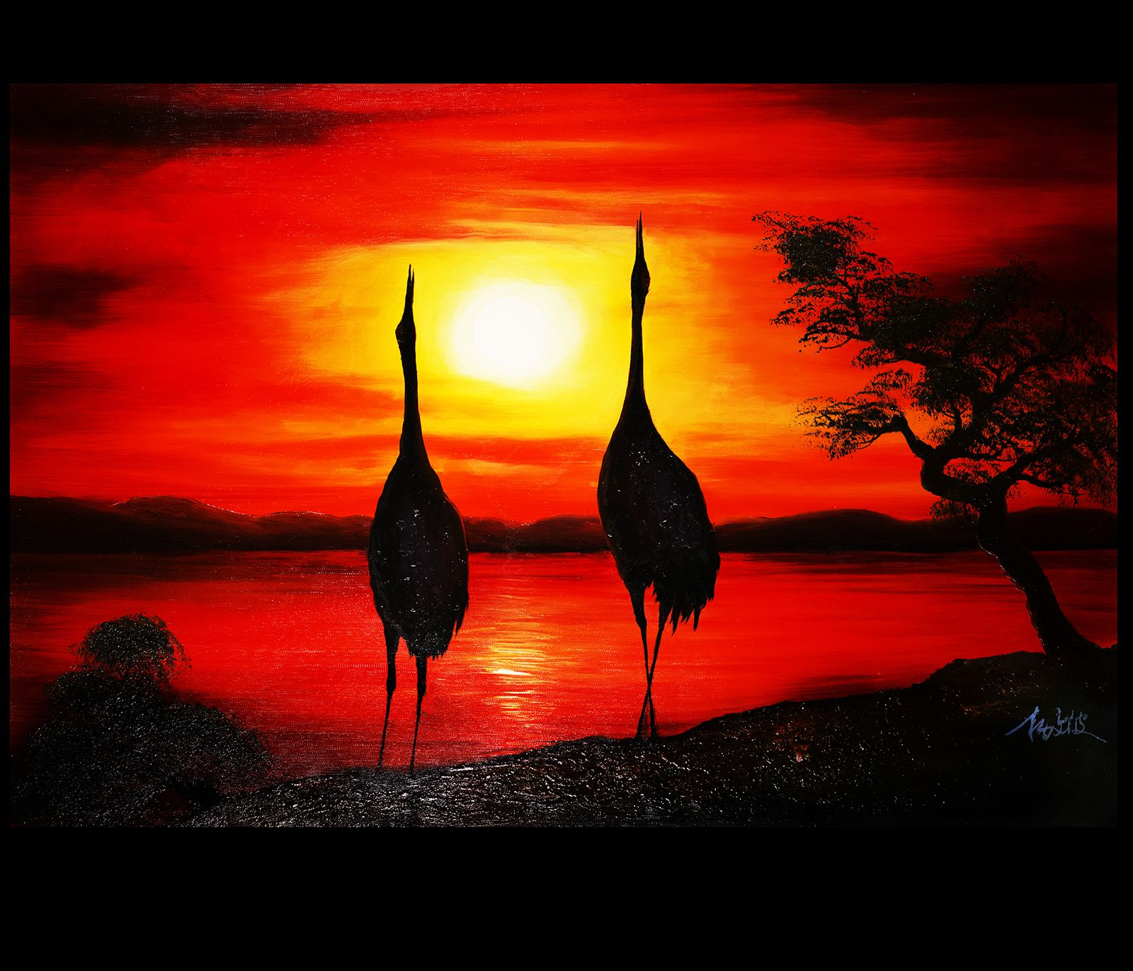 Chinese love birds cranes painting canvas prints modern
