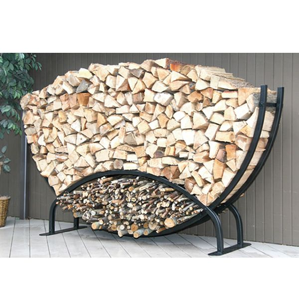 8ft Semicircle Firewood Rack w/Kindling Holder & Cover from ...