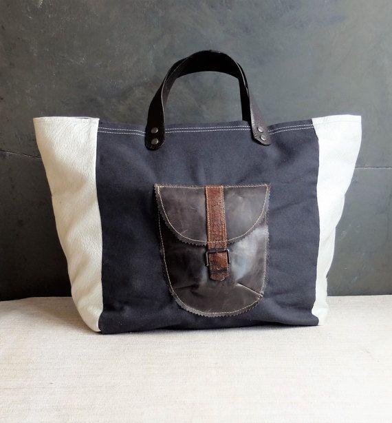 Shoulder bag black canvas silver colour polivynil por LAMILAcanvas2