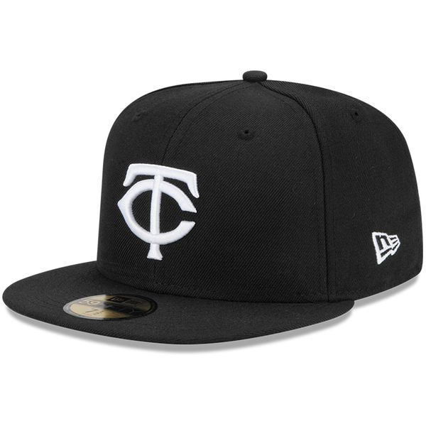 Men s Minnesota Twins New Era Black League Basic 59FIFTY Fitted Hat ... 128b5821ce9