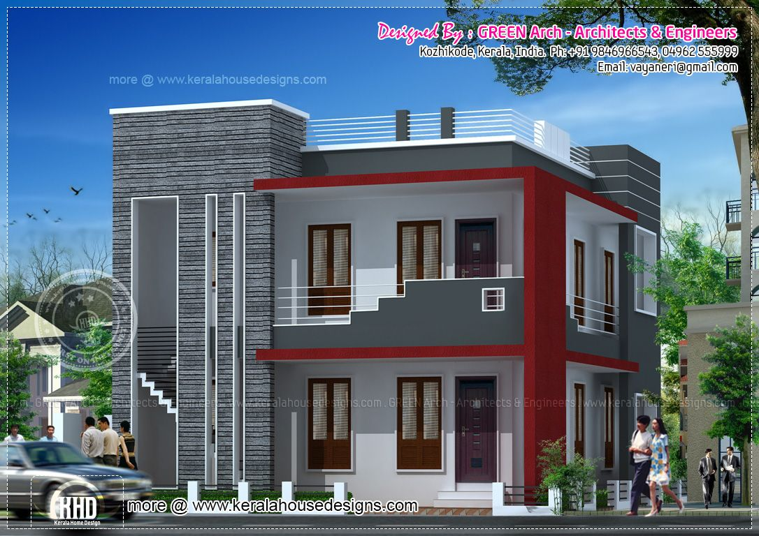 Villa 2000 sq 1086 768 residence elevations for Simple house elevation models