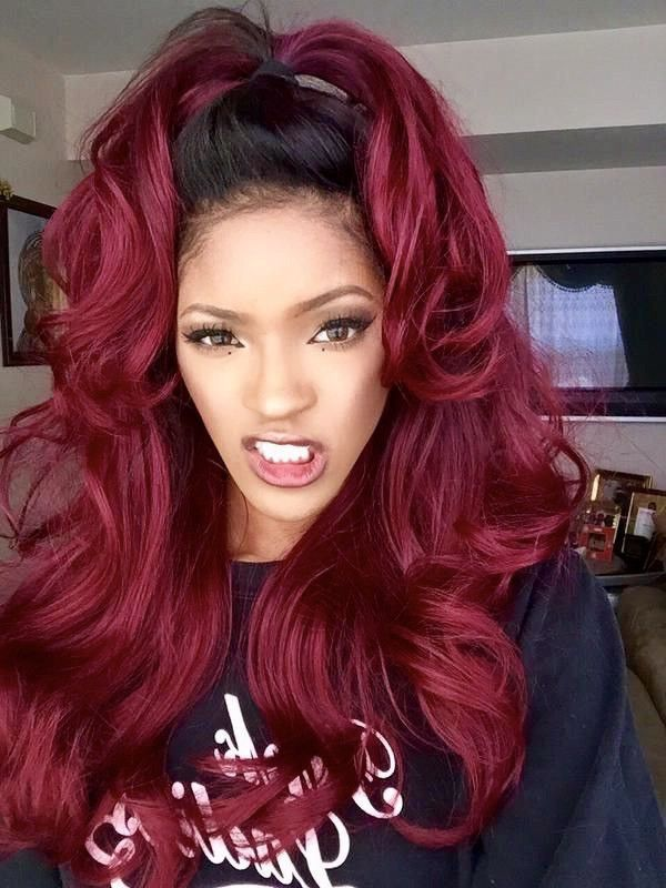 Women s Front Lace Wig Ombre Burgundy Synthetic Hair Long Natural Wavy Heat  Safe 36270ff68