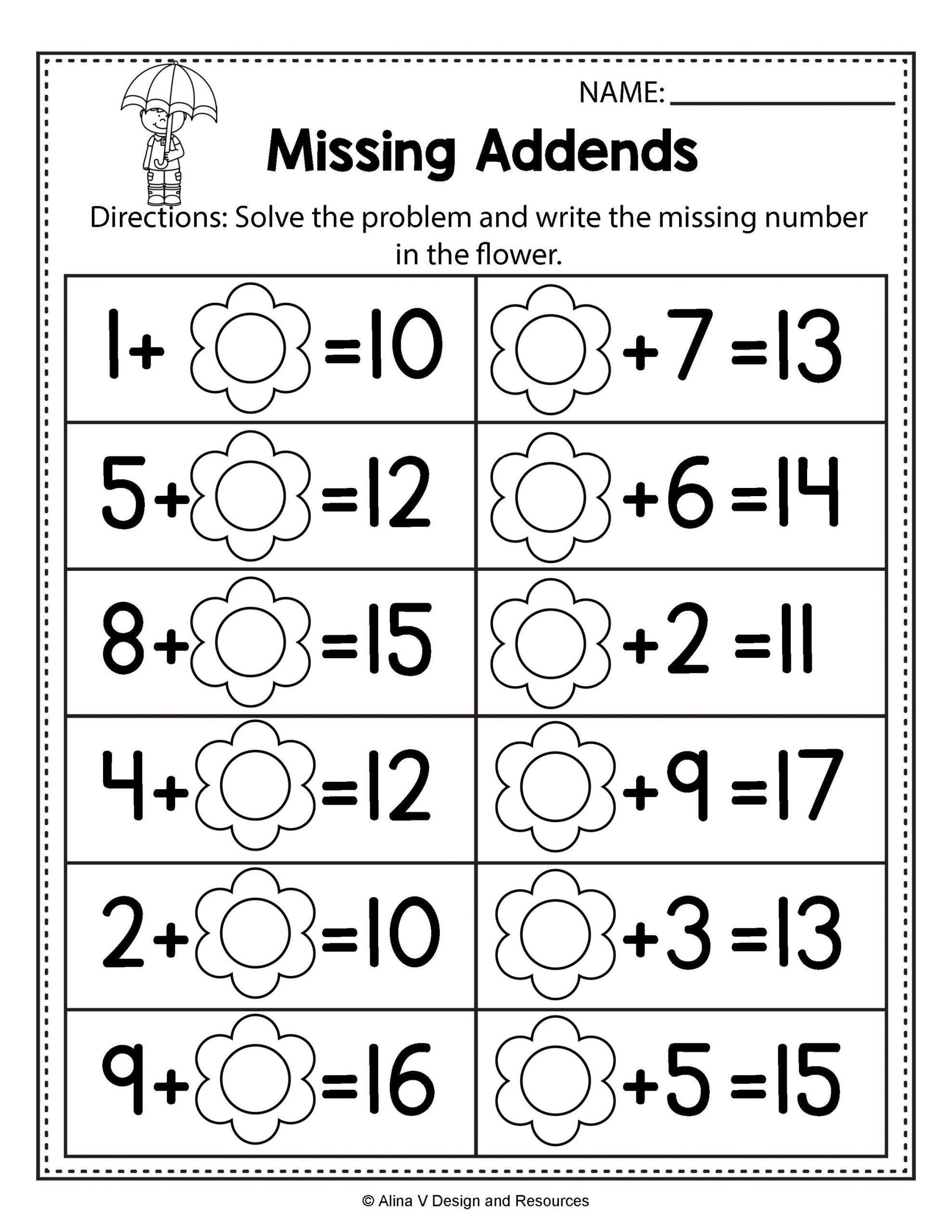 Missing Addend Worksheets Kindergarten Free Spring Math