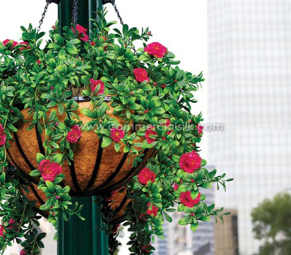 Ferns And Ivy In Hanging Baskets Outdoor Artificial Flowers Azalea Basket Commercial Silk