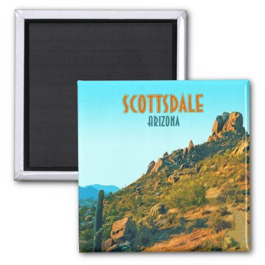 Scottsdale Arizona Cactus and Mountain Vintage Magnet | Zazzle.com #arizonacactus